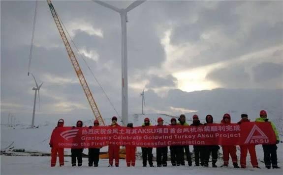 金风科技土耳其AKSU RES项目首台机组吊装完成!GW140-3.4MW!