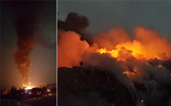 这座韩国最大垃圾山 已经烧了3个月!