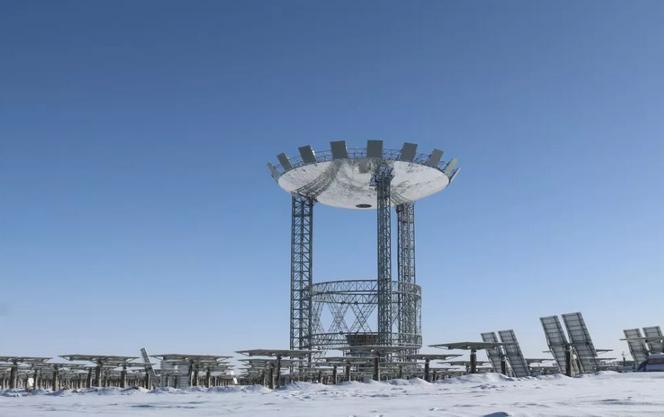 玉门鑫能50MW塔式光热发电项目建设现场最新全景视频