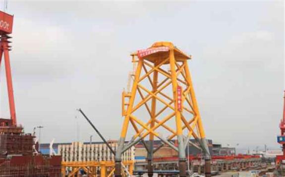 文船重工交付国内最大风电导管架