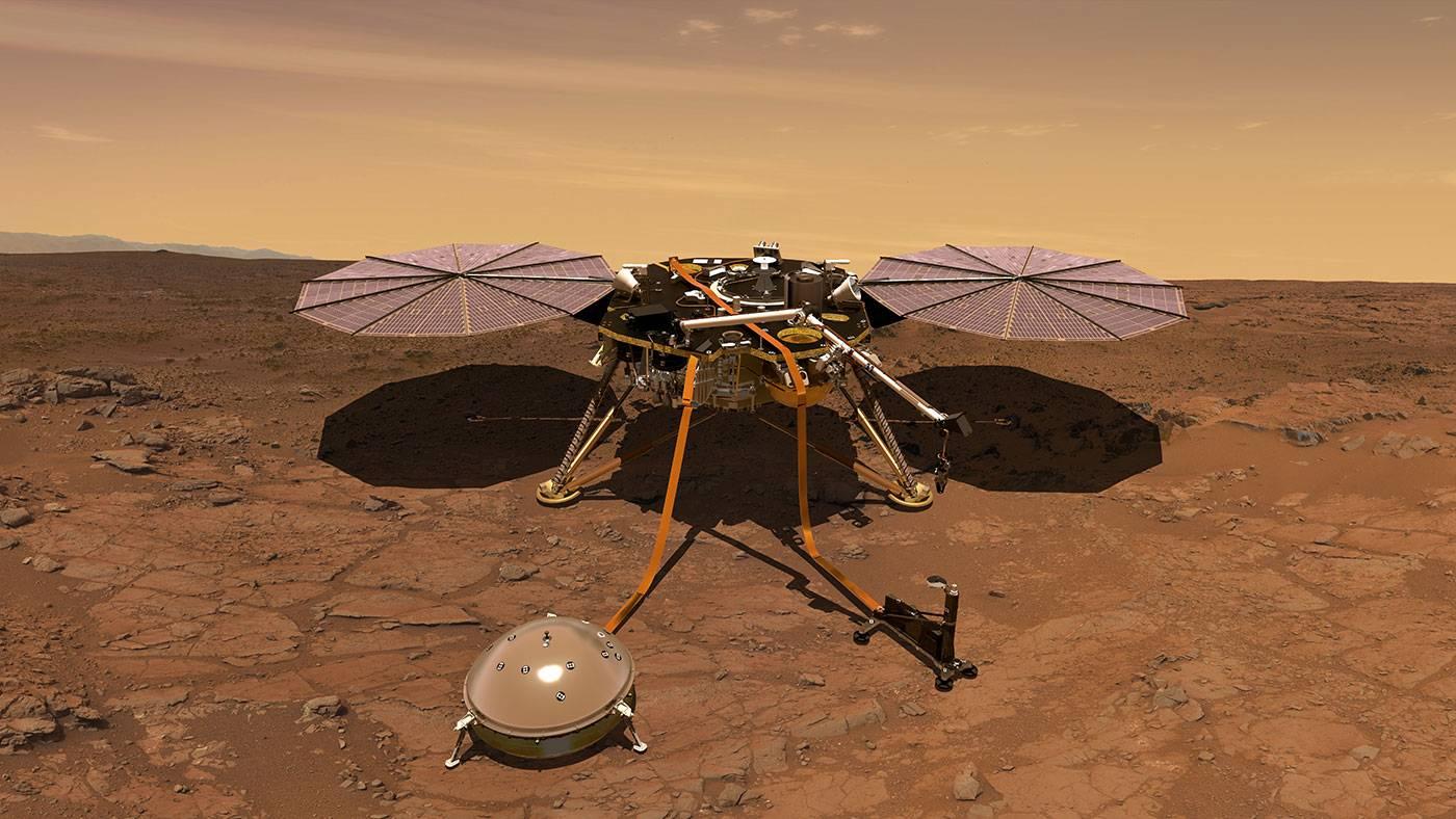 """美国""""洞察""""号火星着陆展开太阳能电池板吸收阳光"""