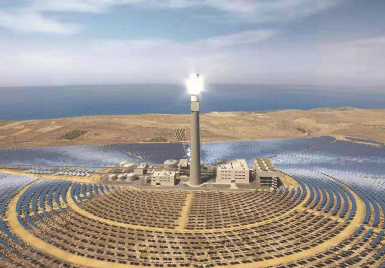 中国企业承建全球最高最大光热电厂集热塔封顶