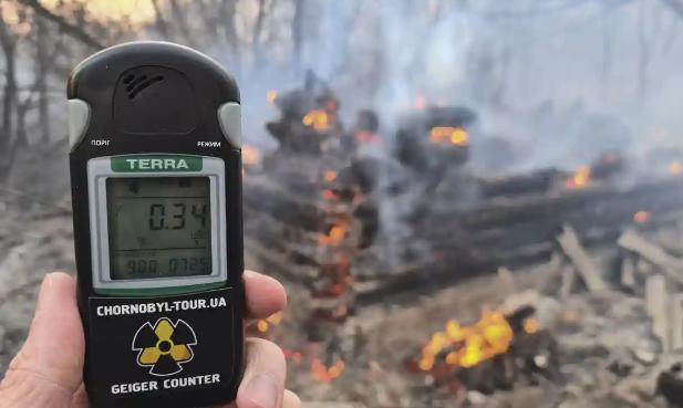 乌克兰切尔诺贝利核电站附近发生山火,辐射超标16倍