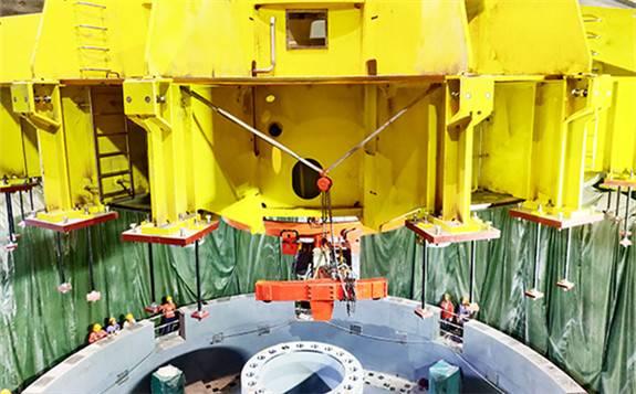 乌东德水电站9号机组进入整体总装阶段