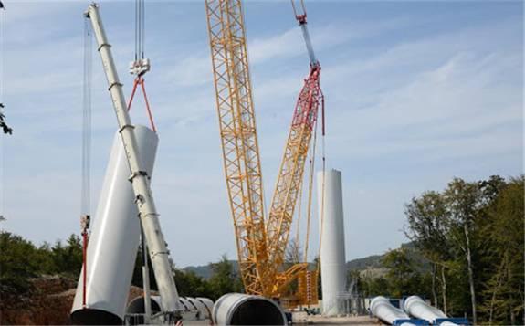 上海电气承揽克罗地亚项目首台风机开吊