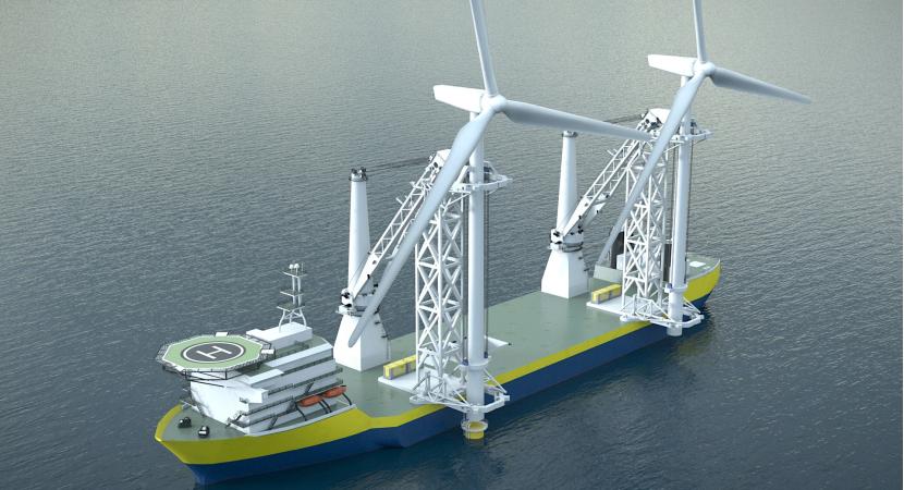 西班牙OffshoreTronic推出一款雙起重機海上風電安裝船