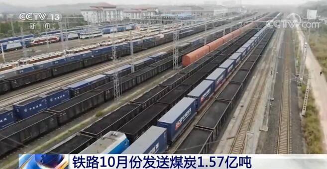 国家铁路10月份完成煤炭装车224万车、发送煤炭1.57亿吨