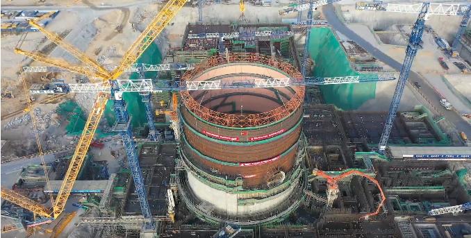 华龙一号漳州核电1号机组核岛反应堆厂房钢衬里模块六顺利吊装就位