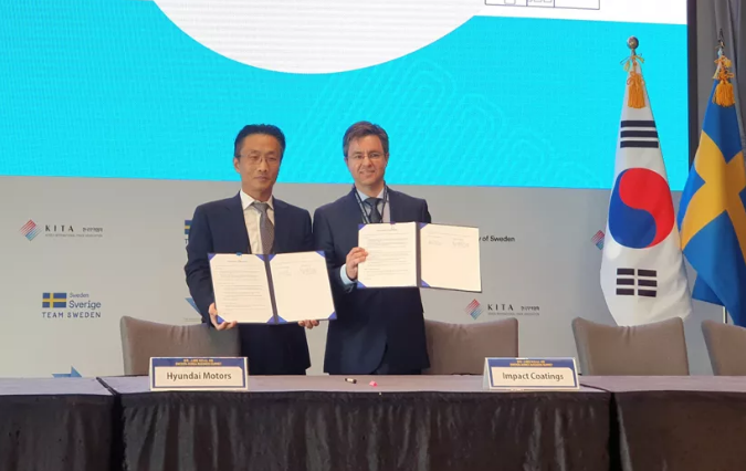 """现代汽车集团与Impact Coatings签署""""氢燃料电池研发合作MOU(谅解备忘录)"""