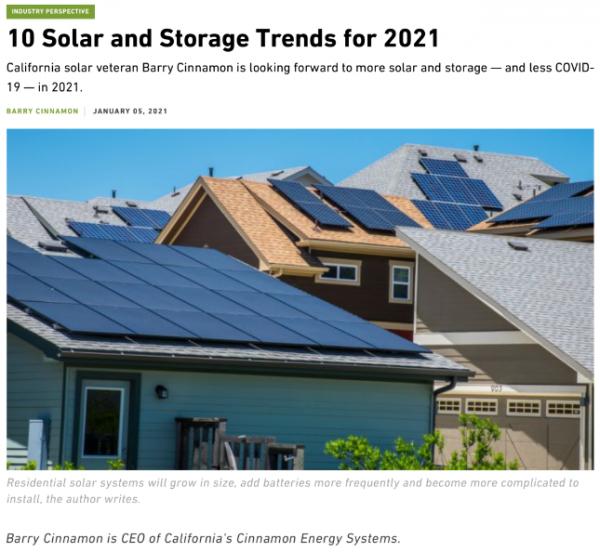 预测美国加州2021年光伏和储能应用的10个趋势