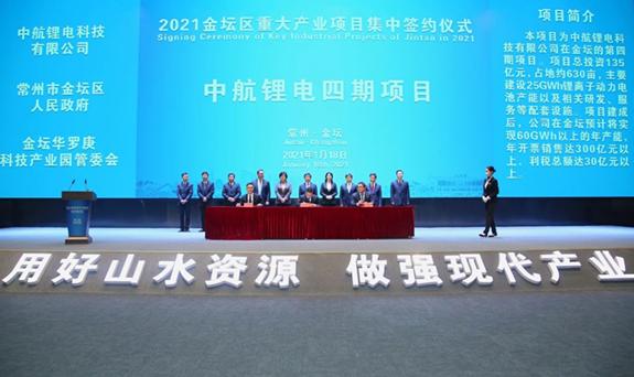中航锂电江苏4期项目正式签约,产能将突破100GWh