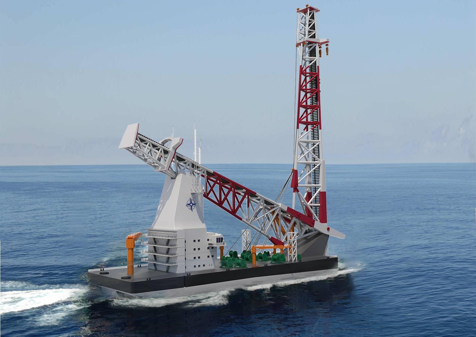 全球最強,140米級海上風電打樁船下水