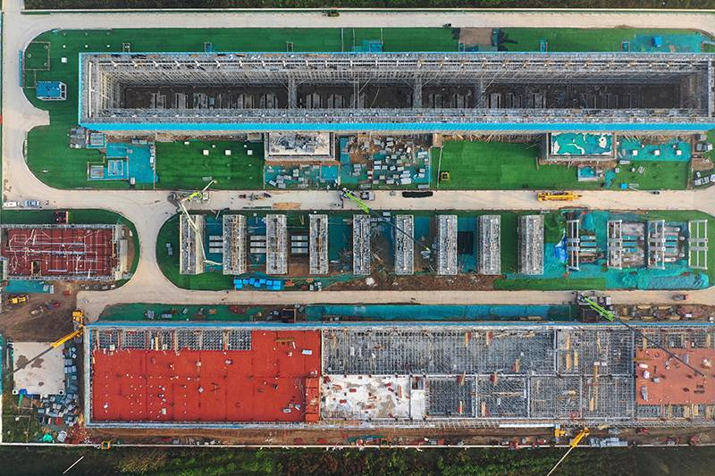 雄安新区雄东500千伏变电站配电楼封顶